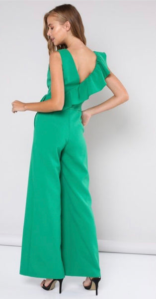 Green ruffle sleeveless jumpsuit