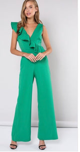 green ruffle jumpsuit sleeveless