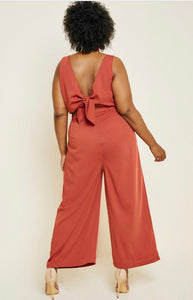 Rust Tie-back Palazzo jumpsuit