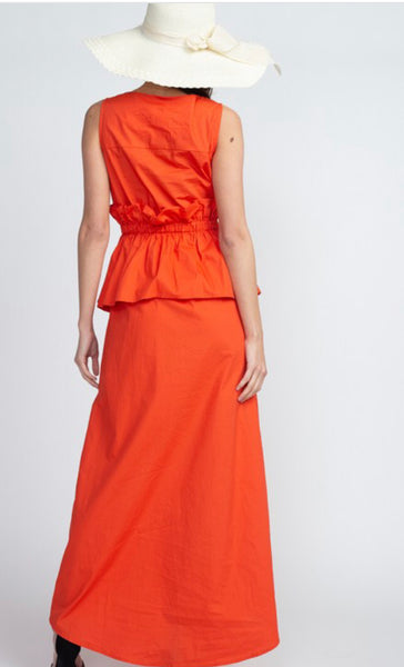 Orange sleeveless cotton maxi dress with waist detail