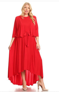 PLUS Red hi-lo sophisticated dress with belt