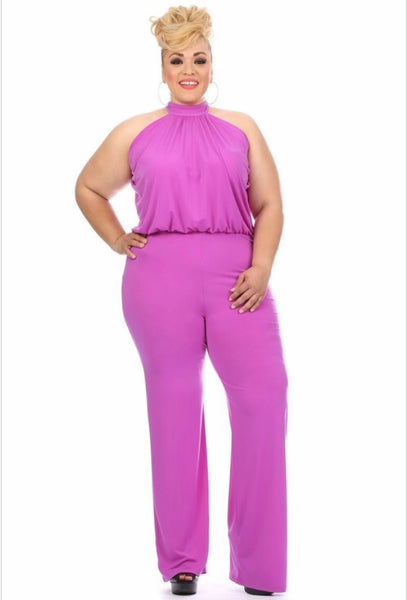 PLUS Lilac purple halter jumpsuit