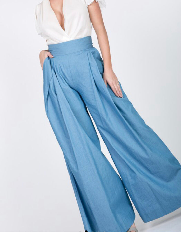 Light denim high waist wide leg pants