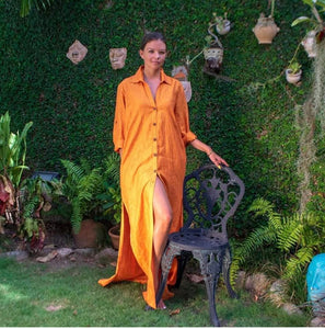 Orange Maxi shirt dress