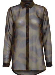CAMO LONG SLEEVE SHEER TOP