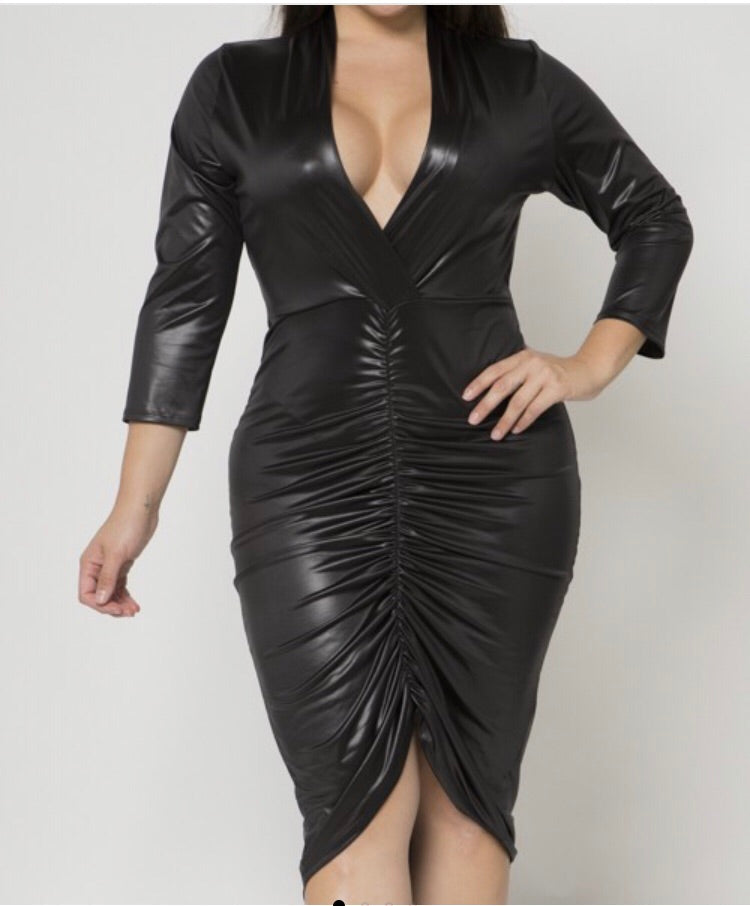 Black Pleather ruched bodycon dress
