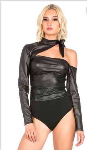 Faux leather bodysuit one shoulder cut out long sleeve