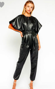 Black pleather belted jumpsuit batwings