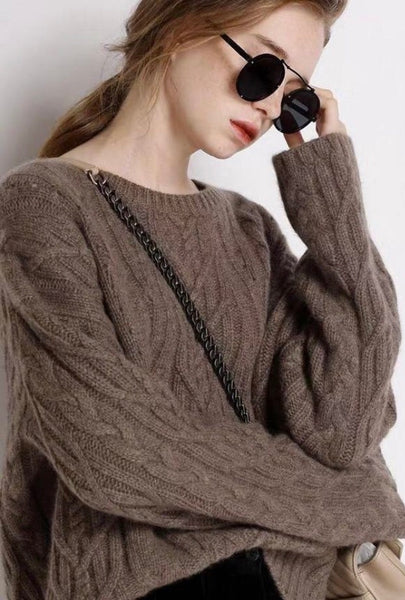 Brown cashmere-blend sweater