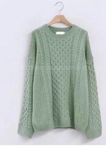 Green textured cashmere-blend sweater