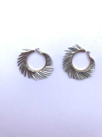 Gold hoops with silver leather fringe