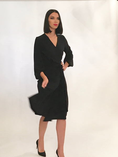 Black wrap dress with Bishop sleeves