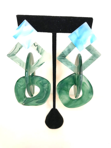 Green acrylic links earrings