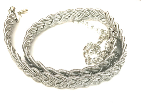 Silver braided belt