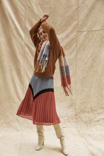 Rust and blue pleated skirt