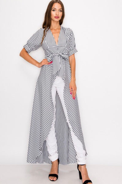 Striped hi lo black and white top