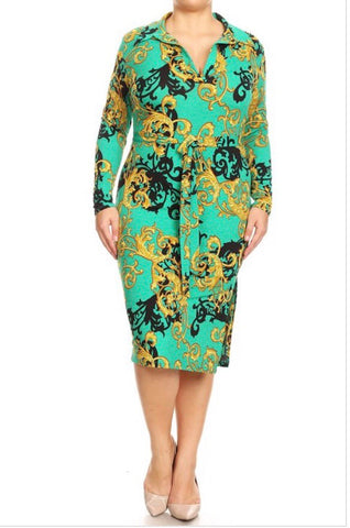 Green abstract long sleeve print dress