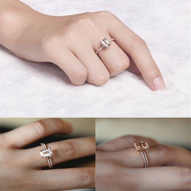 THE SOL COLLECTION - ROSADO ROSE GOLD ENGAGEMENT SET
