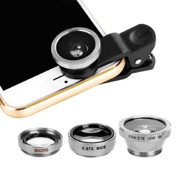 SMARTPHONE 3-IN-1 MACRO/FISH EYE/WIDE ANGLE HD CLIP-ON LENS KIT FOR MOBILE PHOTOGRAPHY