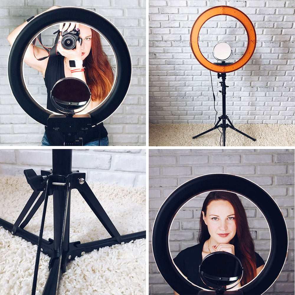 18 INCH LED RING LIGHT KIT (RING LIGHT, LIGHT STAND, MIRROR ATTACHMENT & SMARTPHONE/DSLR MOUNT INCLUDED)