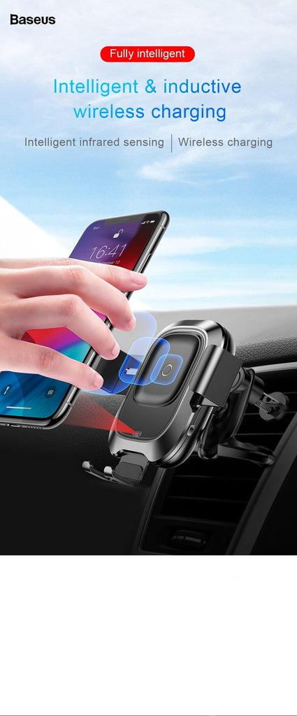 LUXE WIRELESS CAR CHARGER FOR IPHONE & SAMSUNG (IPHONE X/XS/XS MAX/XR & SAMSUNG NOTE/S8/S9)