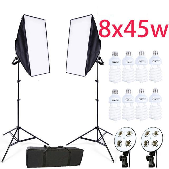 2 PIECE SOFTBOX LIGHTING KIT WITH LIGHT STANDS (PLUS 8 LED BULBS/CARRYING BAG)