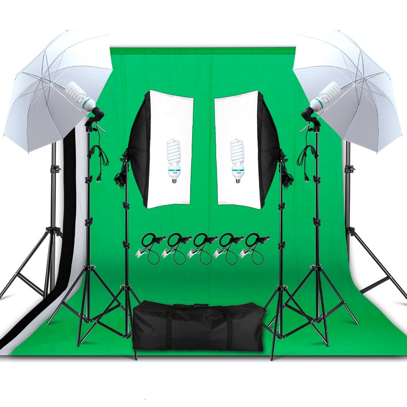 PROFESSIONAL SOFTBOX KIT WITH UMBRELLAS, LED BULBS, LIGHTSTANDS, BACKDROPS & CARRYING CASE