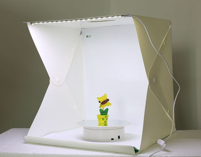 PORTABLE FOLDING LED LIGHTBOX KIT WITH CARRYING BAG & BACKDROPS FOR PROFESSIONAL PHOTOGRAPHY (12in or 16in)