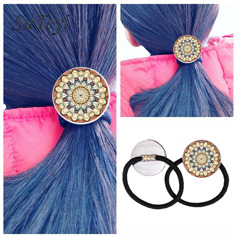 SUTEYI Wedding Hairpins India Mandala OM Symbol Flower Zen Glass Photo Cabochon Extensible Black Hair Rope Band hairpins clip