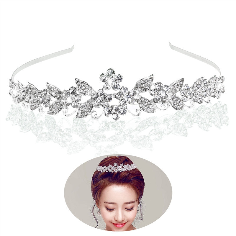 TINKSKY Rhinestone Bridal Crown Headwear for Wedding Engagement Party Crystal Star Leaf Shaped Headband