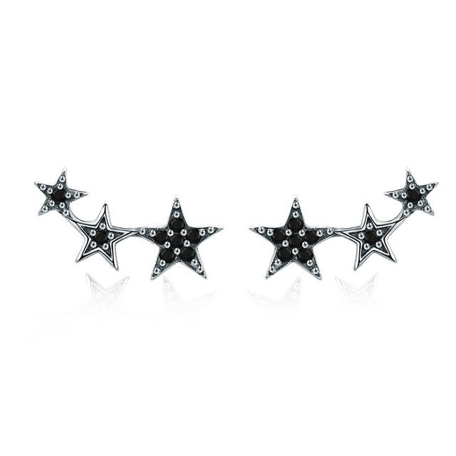 BAMOER 100% 925 Sterling Silver 3 Color Dazzling Stackable Star Stud Earrings for Women Authentic Silver Jewelry Bijoux SCE291