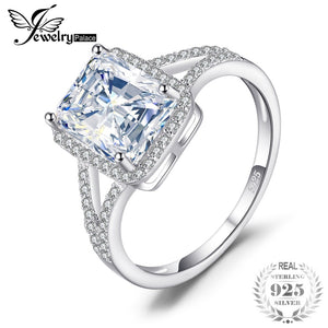 JewelryPalace Classic 2.8ct Rectangle Engagement Wedding Promise Anniversary Halo Ring For Women 925 Sterling Silver Jewelry