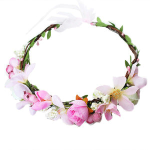 Simulation Flower Headband Bridal Floral Crown Headpiece for Holiady Wedding Photography