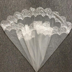 White Ivory Lace Applique Wedding Veil Elbow Bridal Veils
