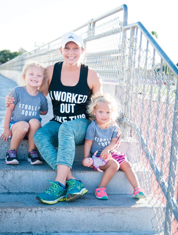 Grace and Grit Strong Mom Stroller Runner with Kids
