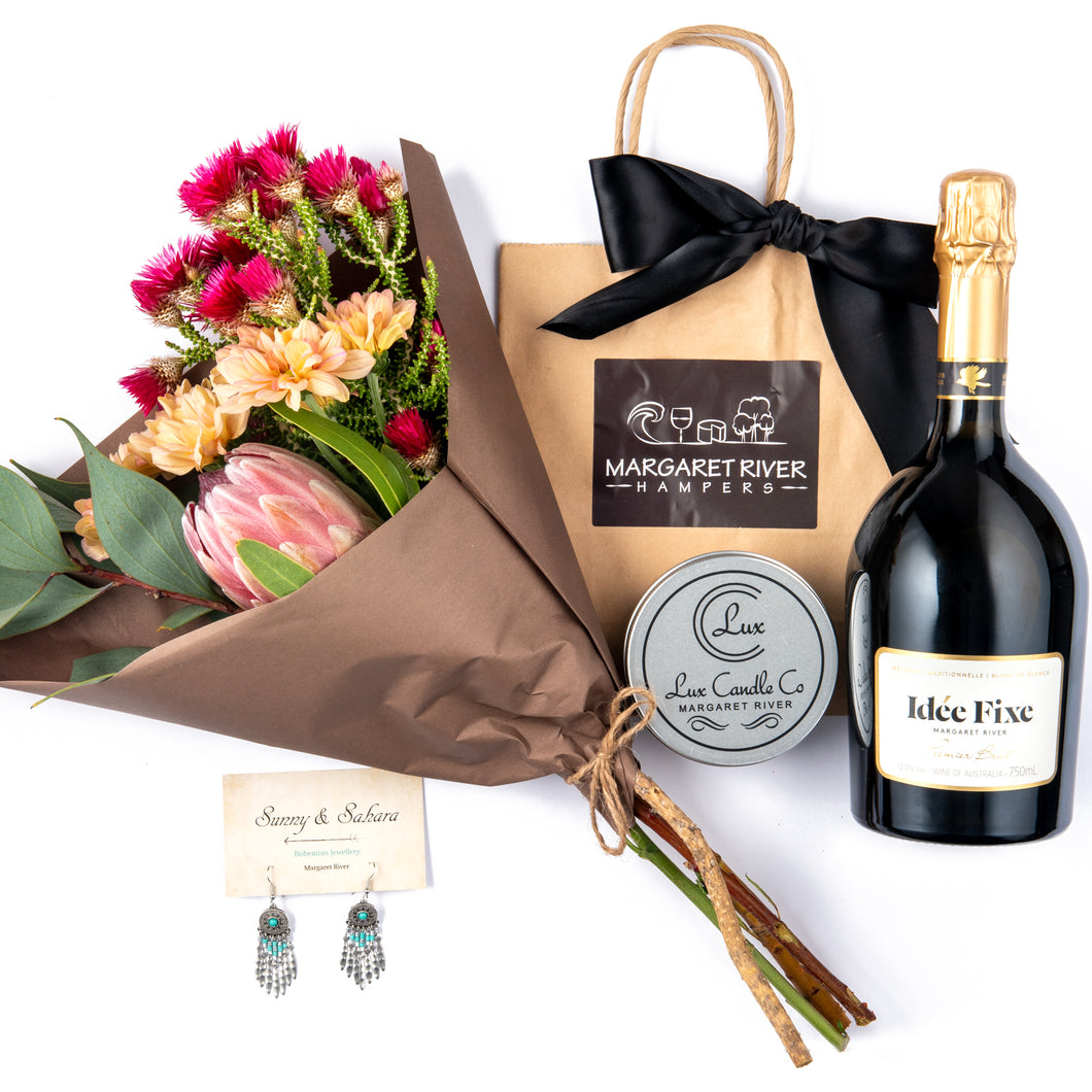 Valentines Day Gift Hamper, Vasse Felix, Sunny and Sahara earrings, Wild Art Floral