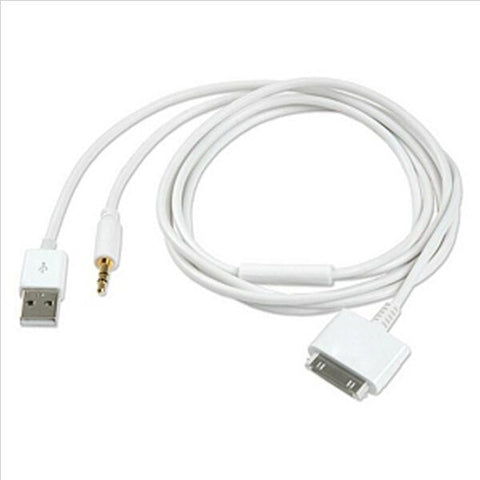 3,5 mm jackbil AUX stereolyd 30-pins USB-oplader Data Sync-kabel opladningskabel til iPhone 4 / 4S 3GS iPod Nano / Touch iPad 2/3