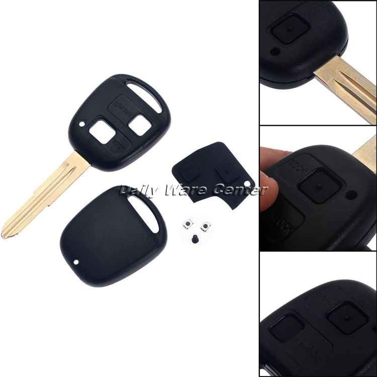 Car Replacement 2 Buttons Remote Key Fob Case Shell for Toyota Yaris Rubber  Pad Switch Blade Repair Remote Key Cover Accessories