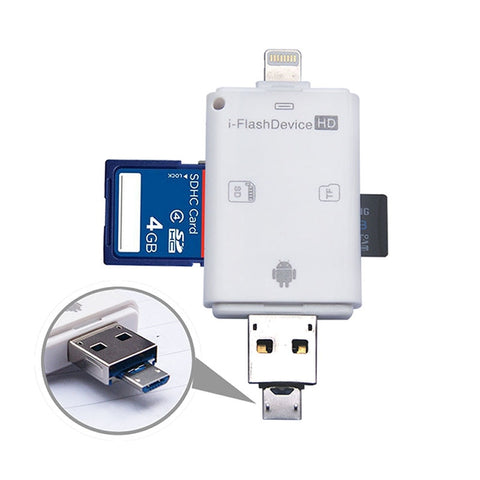 i-FlashDrive HD 32 GB TF + SD-kortlæser interface Micro USB Flash Drive til iPOD / iPhone / iPad [FH] FC
