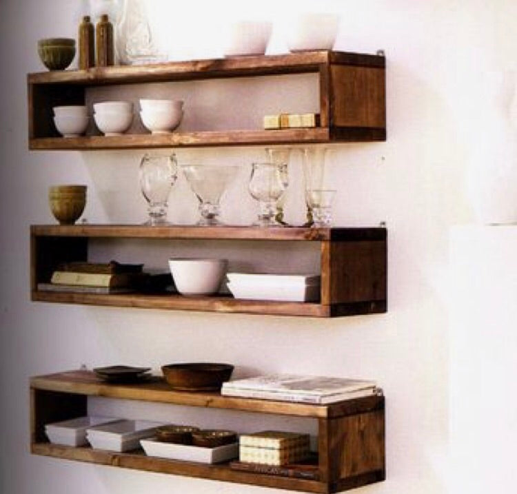 Stained Box Floating Shelves
