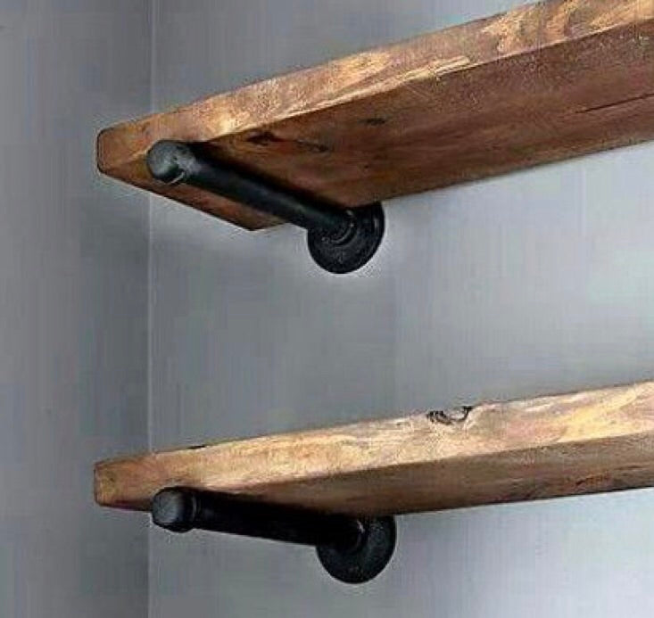 Stained Floating Shelves w/ Pipe Brackets