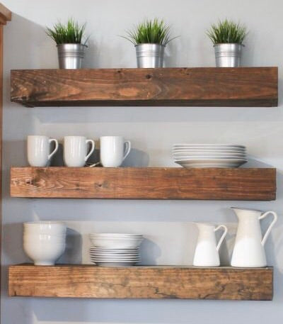 Stained Closed Box Floating Shelves