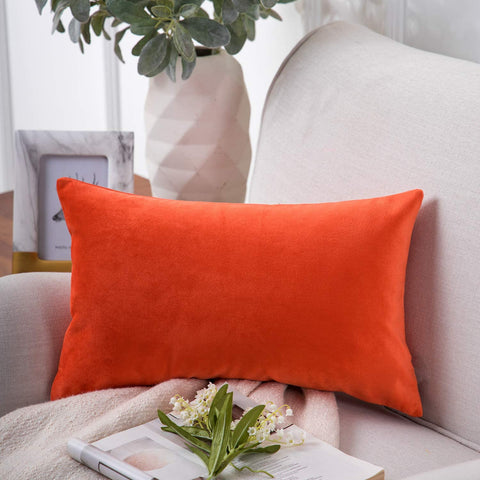 Phantoscope Velvet Decorative Throw Pillow Cover Soft Solid Square Cushion Case for Couch Orange Red 12 x 20 inches 30 x 50 cm