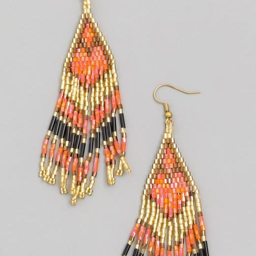 Beaded Triangle Fringe Earrings
