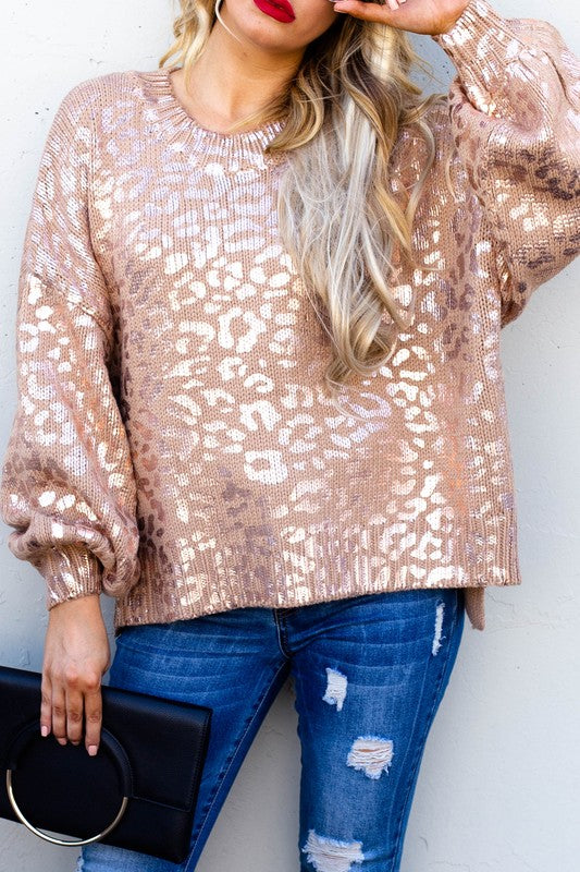 Plus Size Golden Animal Print Sweater