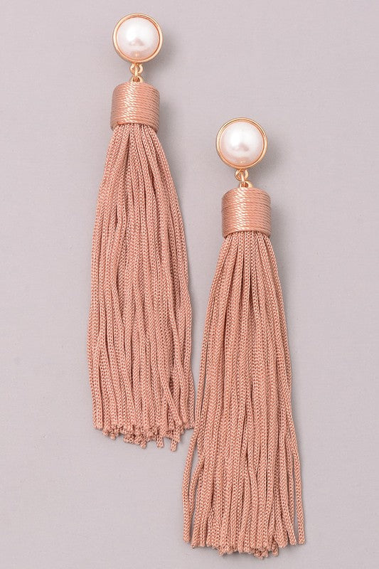Pearly Tassel Dangle Earrings