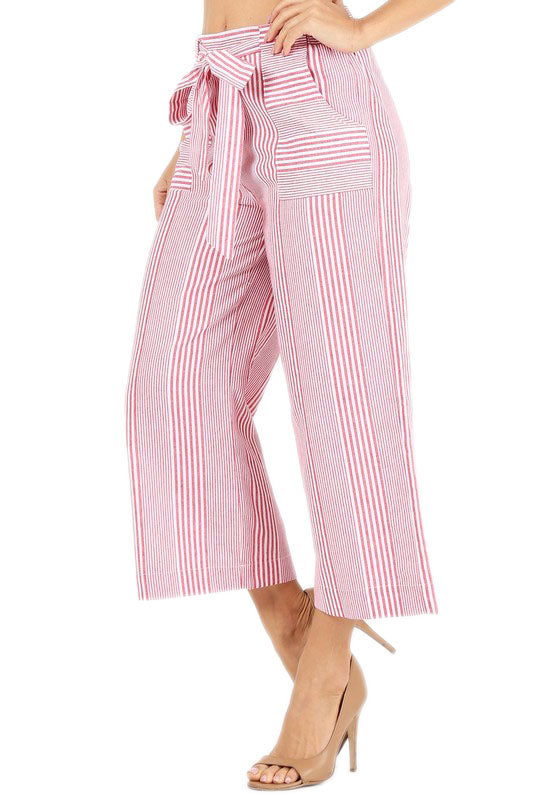 Red STRIPED WIDE LEG HIGH WAISTED PANTS