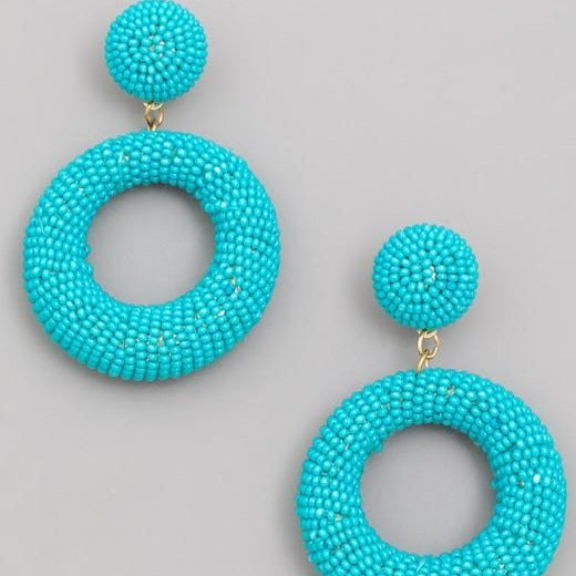 Turquoise Seed Beaded Circle Drop Earrings