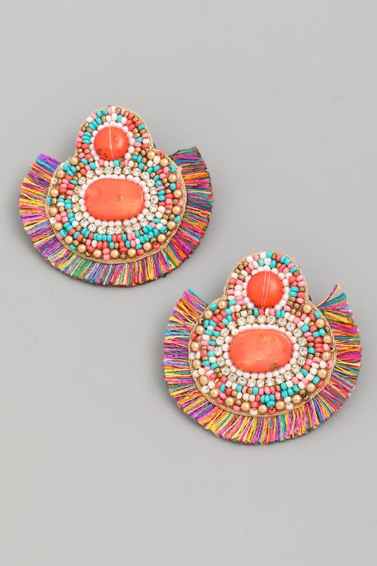 Stone Bead Fan Drop Earrings