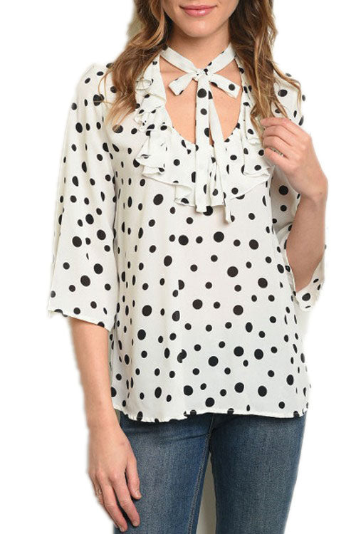 Black and White POLKA DOT TOP WITH RUFFLE AND TIE TRIM
